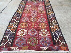Vintage Turkish Kilim Kelim Rug 310x157 cm shabby chic wool, country home, boho