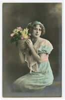 1910s Glamor Glamour FASHION BEAUTY Pretty Young Lady tinted photo postcard