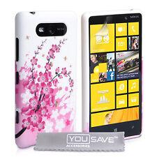 Accesorios Nokia Lumia 820 Flor Floral Con Estampado De Silicona teléfono funda protectora del Reino Unido