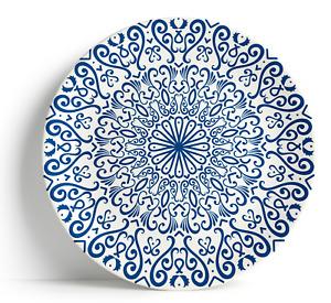 """Fez Blue - 16"""" Serving Plate, Porcelain, Ceramic, Dishwasher safe - Moroccan"""