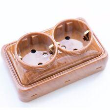 Aufputz STECKDOSE  Schutzkontakt 2-fach-Steckdosenleiste schuko kombi Holz