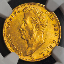 1826, Netherlands, William I.Gold 5 Gulden Coin. 1st Year of Type! NGC MS-61!