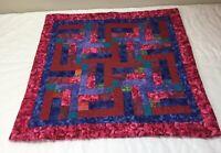 Patchwork Quilt Wall Hanging, Rectangle Logs, Vivid Colors, Calico Prints