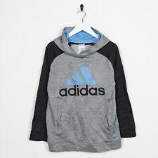 Vintage Kid's ADIDAS Big Logo Polyester Hoodie Sweatshirt Grey Large L