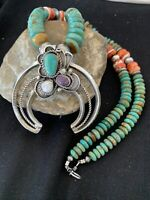 ROYSTON TURQUOISE Sterling Squash Blossom Necklace NAJA Pendant Navajo Pearl 958