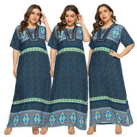Summer Women Print Abaya Short Sleeve Kaftan Muslim Long Maxi Casual Dress Robe