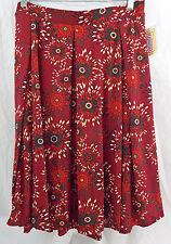 Womens LuLaRoe Madison Box Pleat Skirt Pockets 3XL Dark Red Green Off White NWT