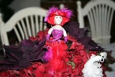 Red Hat  Lady Society Doll Ornament Handpainted and Decorated SALE NOW