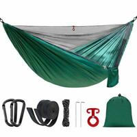 """Portable Double Single Camping Hammock with Mosquito Net and Tree Straps 114""""x55"""