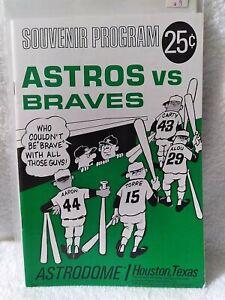 1967 Astros vs. Braves Game Souvenir Program  UNMARKED scorecard