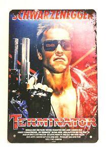Terminator Tin Sign Vintage Style Movie Poster Ad Home Theater Schwarzenegger