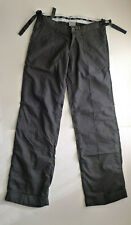 WESC Ladies Cotton Straight Wide Leg Trousers, Dark Grey/Black Womens Small L32