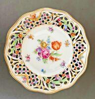"Vintage Schumann Bavaria Dresden Floral Reticulated Plate Gilded 6-1/4"""