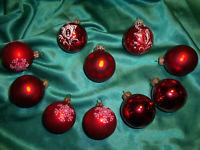 ~ 10 alte Christbaumkugeln Glas rot weiß Tannenbaumkugeln Weihnachtskugeln CBS ~