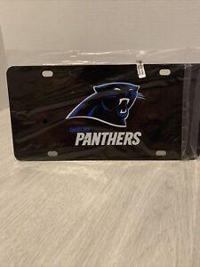 Carolina Panthers 12x6 Black With Blue Logo & Script Design Metal License Plate