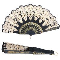 Ladies Spanish Silk Hand Held Folding Fan Flower Design Party Wedding Dance Prof