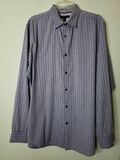 Banana Republic Men's Button Front Dress Shirt Size Large 16 16.5 Purple Check