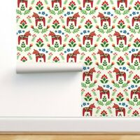 Removable Water-Activated Wallpaper Dala Horse Red Green Blue White Swedish Folk