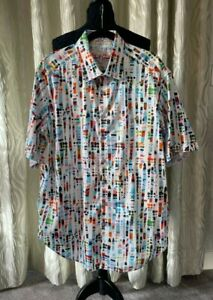 Mans Shirt  Robert Graham Short Sleeves XL white/colorful pattern Excellent
