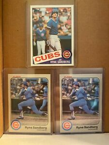 1983 FLEER RYNE SANDBERG ROOKIE X2+1985 Topps ALL MINT