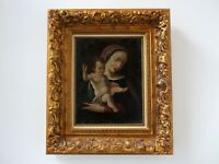 Madonna and Child Framed Oil on Canvas signed Solana