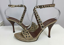 DONALD PLINER COUTURE SHOES TAUPE SILVER METALLIC SUEDE GROMMETS NAILHEADS 8 N