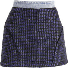 NEW Womens Juicy Couture Black Label Blue Tweed Steven Wash Mini Skirt Size 12