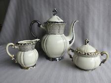 Antik Porzellan Kaffeekern MITTERTEICH Silber Dekor Service Kanne Milch Zuckerdo