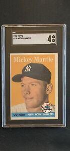 1958 Topps #150 Mickey Mantle SGC 4 Vg-EX razor sharp!
