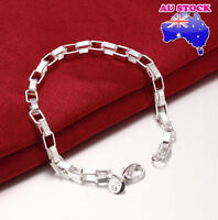 925 Sterling Silver Filled Bracelet Solid Box Link Chunky Polished Chain
