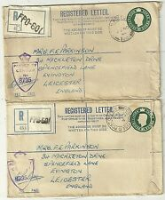 2 x FIELD POST OFFICE =601= REGISTERED POSTAL STAT EX NORTH AFRICA TO UK 1944