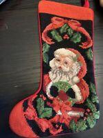 Vintage Needlepoint Christmas Stocking Imperial Elegance 1991 Santa Clause
