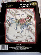 "Golden Bee Picture Counted Cross Stitch Kit White Cat 8"" X 10"" Pink Flowers"