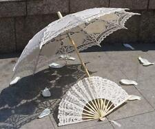 Battenburg Ivory Belle Parasol Umbrella 30 inch & Hand Fan Wedding Bridal