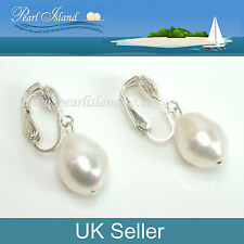 Large Freshwater White Baroque Pearl Clip On Earrings 12-13mm - Pearl Island