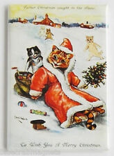 Cat in Santa Claus Suit FRIDGE MAGNET (2 x 3 inches) christmas postcard winter