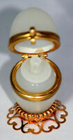 Antique c1800's French Palais Royal SMALL Opaline 'Egg' Casket & Perfume Bottle