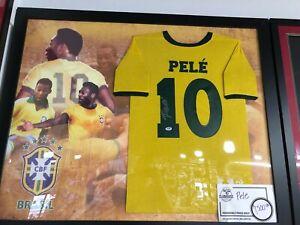 Pele - Brazil -  Framed Jersey - PSA/DNA Autograph