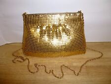 Vintage Gold Aluminum Mesh Purse Clutch Lined Zipper Close Chain Strap