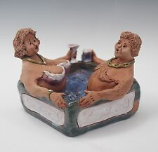 PEGGY FOSTER ART POTTERY OLD COUPLE IN A HOT TUB GROTESQUE FUNKY SCULPTURE OOAK