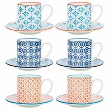 Espresso Cups & Saucers Patterned Coffee - Set of 6 - 65ml