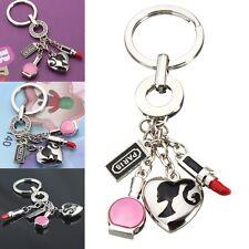 Women Lipstick Makeup Heart Keychain Key Chain Ring Keyring Keyfob Key Chain A