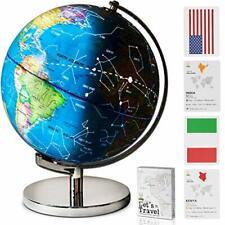 Children Illuminated Spinning World Globe with Stand Plus a Bonus Card Game.