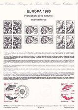 Document Philatélique Timbre 1er Jour : 26/04/ 1986 - Europa Mammifères