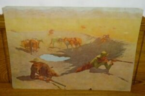 Antique 1908 Frederic Remington Print - The Fight For The Waterhole