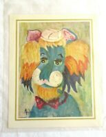 "Vintage Art 1960's MICHELE Lion Clown Print Wild Cat Animal Signed 8""x10"" Jungle"