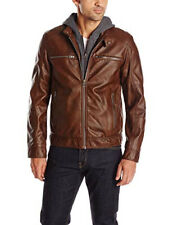 RRP - $225. GUESS Men's Faux Leather Hooded Moto Jacket, Dark Brown