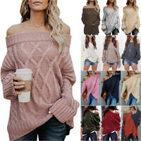 Womens Off Shoulder Sweater Knitted Pullover Ladies Casual Loose Jumper Tops 5XL