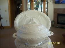 Soup Tureen 4 Piece Vintage White Embossed Ceramic Pottery Intrada Made In Italy
