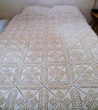 Vintage Crocheted Ecru Queen Bedspread Squares Triangles Popcorn 1938